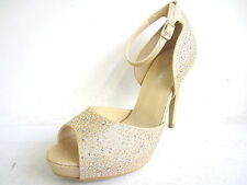 F10459- Ladies Anne-Michelle Diamante Peep Toe Sandals 2 Colours- Gold & Silver!