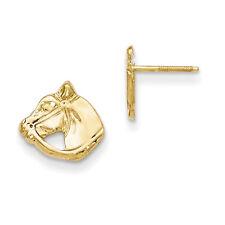 14K Yellow Gold Horse Head Stud Earrings Screw Backs Madi K Children's Jewelry