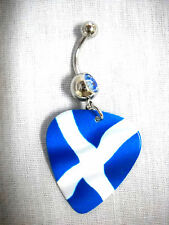 NEW SCOTTISH FLAG SCOTLAND BLUE & WHITE PRINTED GUITAR PICK BLUE CZ BELLY RING