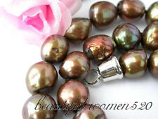"z2473 18"" 13mm baroque brown freshwater pearl necklace"