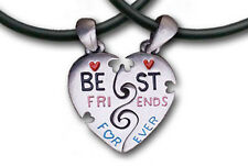 Friend Shack - Best Friends Forever BFF - Color Split Heart Friendship Pendants