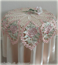 "Decadent Victorian Lace Doily 35"" Star Shape Table Topper Pink Rose Wedding"