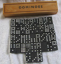 Vintage Wooden 10 5/8 Inch Dominoes Box Made in Bulgaria (Partial Dominoes Set)