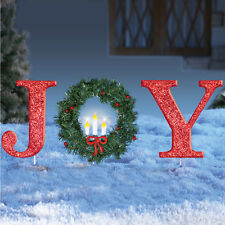 "Lighted Christmas ""JOY"" with Wreath Outdoor Yard Stake Decoration"