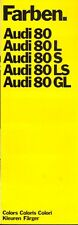 Audi 80 L S LS GL 1972 COLOURS multi-language sales brochure