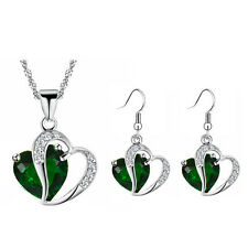 Dark Green Two Hearts Jewellery Set Drop Earrings & Necklace Jewellery S861
