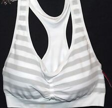 JENNI by JENNIFER MOORE GRAY WHITE STRIPE COMFY WIRE-FREE BRA LARGE NEW TAGS