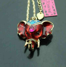 547R      Betsey Johnson  Crystal Elephant Head  Pendant Sweater  Necklace