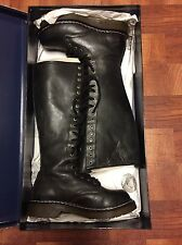 New Rock Combat Boots 20 Eyes Knee High Leather Black Size 8 (38)