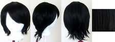 11'' Short Straight Layered Natural Black Synthetic Cosplay Wig NEW