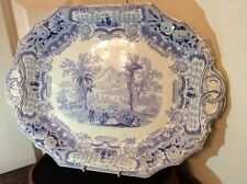 Antique Georgian blue printed pattern platter .c1820. - 41cm