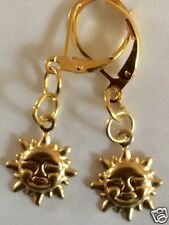 SMALL SUN RAW BRASS  EARRINGS FOR PIERCED EARS