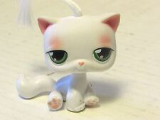 2004 Littlest Pet Shop White & Pink Short Hair Cat #148 Green Eyes Hasbro LPS