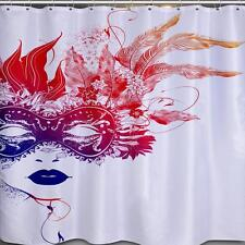 Abstract Model With Mask Leafs For Hair Bathroom Shower Curtain Polyester Hooks