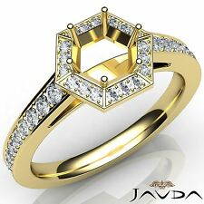 Hexagon Halo Pave Diamond Engagement 0.5Ct Round Semi Mount Ring 14k Yellow Gold
