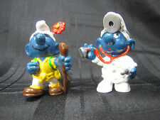 SCHLEICH 1978 1979 SMURFS PLASTIC PVC FIGURES DOCTOR AND HIKER WALKING STICK