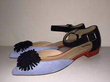 SOLD OUT!! J CREW STACKED COLORBLOCK POM POM ANKLE STRAP viv kiki FLATS SHOES 7