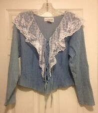Together Blue Cotton Shaded Denim Ruffle Lace Trim Shirt/Blouse Tie Front Sz 10