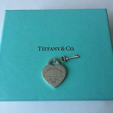 Authentic Return To Tiffany & Co. Silver Heart Tag Charm With Key