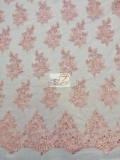 ANASTASIA FLORAL SEQUINS LACE FABRIC - Pink - BY THE YARD DRESS GOWN BRIDAL