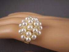 Gold tone Cream faux pearl beaded cluster big cocktail statement ring adjustable