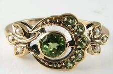 LOVELY  9K GOLD GRASS GREEN PERIDOT SUN & MOON RING