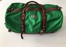 NWT Polo Ralph Lauren Nylon & Leather Duffle Tote Travel Gym Weekend Bag. Green
