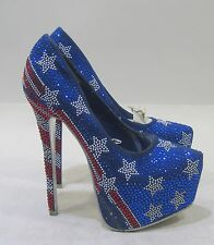 shiekh  American Flag Gem SEXY Pumps SHOES Size 7