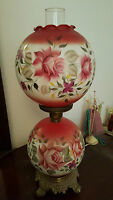 Antique Parlor Gone With the Wind GWTW Hurricane Lamp Pink Roses Victorian Globe