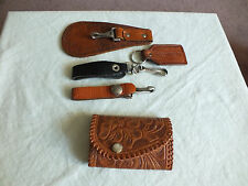 Collectible Key Chain Set 5 Leather Browns Black 3.5 to 6 Inches Long Nice LOT