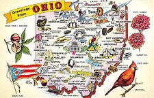 State map postcard Greetings from Ohio chrome large letter