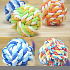 Pet Puppy Chews Toy Clean Teeth Bone Dogs Cotton Rope Ball Play Braided Knot Fun