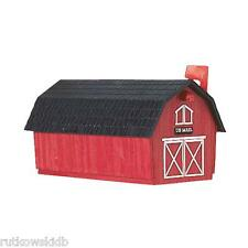 Flambeau Red Barn with Black Roof Poly Rural Post Mount Mailbox