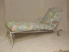 Vintage Wrought Iron Woodard Style Chaise Lounge