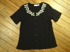 NWOT Denim and Company Black Embroidered Crinkle Blouse     Size Small