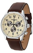 Jorg Gray JG5500-22 Mens Watch Cream Dial Chronograph With Espresso Leather Band