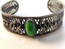 Vintage Sterling Silver & Malachite Filigree Bracelet