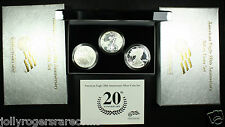 American Silver Eagle. 2006 20th Anniversary 3 Coin Set. Lot # 9004-001