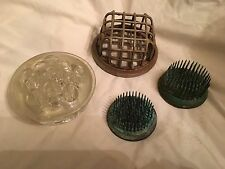 Antique Vintage Flower Frog Lot Of 4 Metal Spikes Great Patina Glass Domed Cage