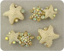 Beads Starfish White w/Aurora Borealis Swarovski Crystal Elements 2 Hole ~QTY 4