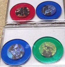 Vintage Star Wars Poker Chip Set of 4 Coloed Plastic Chips in Case- FREE S&H