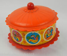 VINTAGE TOY CAROUSEL ROLY-POLY CHIME BELL TOY RED ORANGE