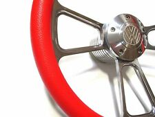 Karmann Ghia Bug Volkswagen VW 1960-1973 Red & Billet Steering Wheel w/ Boss Kit