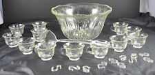 Vintage  Indiana Glass Clear Princess Harvest Grape Punch Bowl & 12 Glasses Cups