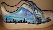 Mens Trainers - Nike Air Air Force 1 - White With Blue/Black - New York - BOXED