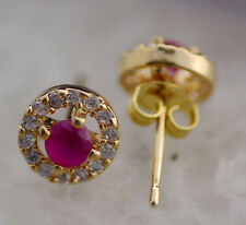RAVISHING!NATURAL RED RUBY & WHITE CZ STERLING SILVER EARRINGS 10MM Gold PLATED