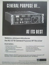 9/1977 PUB WATKINS JOHNSON WJ-8718 GENERAL PURPOSE HF RECEIVER ORIGINAL AD