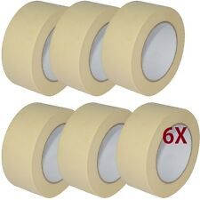 6 X LOW TACK MASKING TAPE 50MM X 50M PAINT PAINTING MASK DECORATE Multi Surface