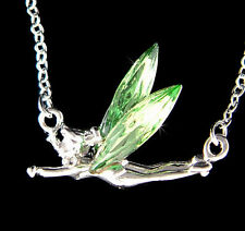 w Swarovski Crystal Tinker Bell  Green Tinkerbell Fairy PIXIE ANGEL Necklace New