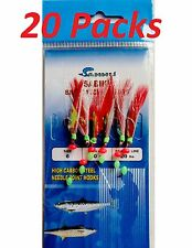 20 Packs Size #6 Sabiki Bait Rigs 6 Hooks Red feather Offshore Saltwater Lu